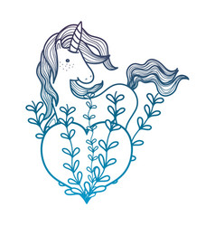 Degraded outline unicorn hairstyle with heart and vector