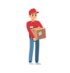 Delivery man with box young courier vector