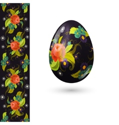 Easter egg decorated with beautiful floral pattern vector image