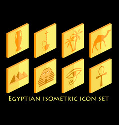 egyptian isometric icon set symbols of egypt vector image