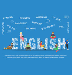 English word for education with icons flat design vector