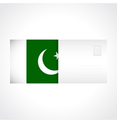Envelope with flag of Pakistan card vector image