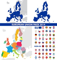 European union map and flags pack vector