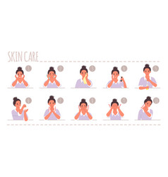 Face skin care routine flat vector
