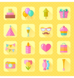 Festive birthday flat icons set vector image