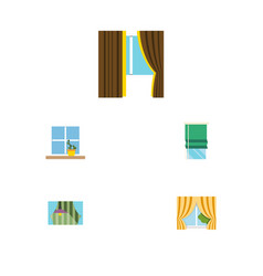 flat icon glass set of glass balcony curtain and vector image