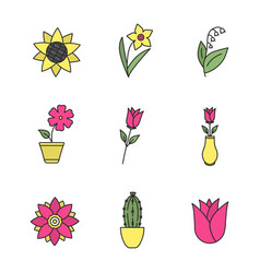 flowers color icons set vector image
