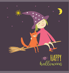 flying young witch with cat vector image