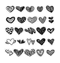 hand drawn hearts vector image