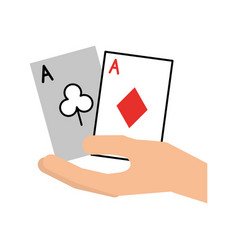 Hand human with poker cards vector