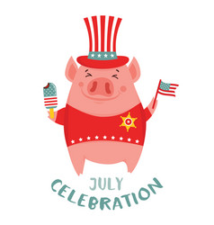 happy 4th july funny pig celebration usa vector image