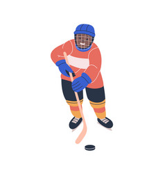 Happy african boy playing ice hockey game vector