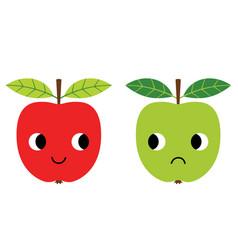 happy and unhappy apples cartoon vector image