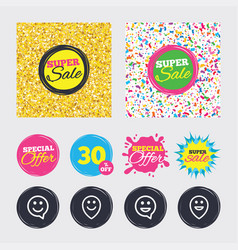 Happy face speech bubble icons pointer symbol vector