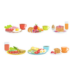 Healthy breakfast dishes set classical menu with vector