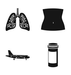 human lungs body part and other web icon in black vector image