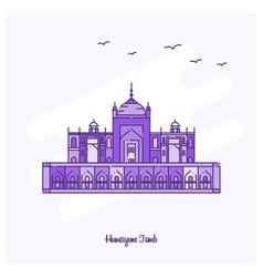 Humayuns tomb landmark purple dotted line skyline vector