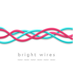 Isolated bright tech wires on white background vector