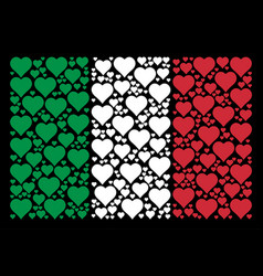 italian flag mosaic of valentine heart items vector image