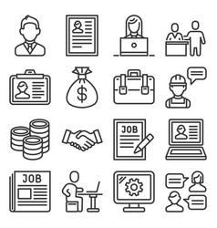 job and human resource icons set line style vector image