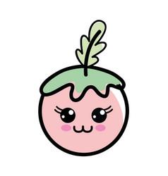 Kawaii happy tomato vegetable icon vector