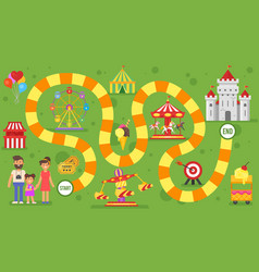 kids amusement park board game vector image