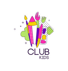 Kids club logo label for development educational vector
