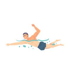 Man in swimming pool person in swimwear vector