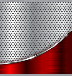 Metal perforated background with red chrome wave vector