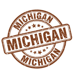 Michigan brown grunge round vintage rubber stamp vector