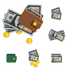 money icons and brown wallet vector image