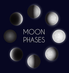 Moon phases night space astronomy the whole cycle vector