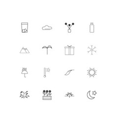 nature simple linear icons set outlined icons vector image