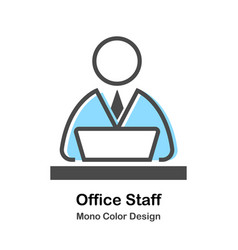 Office staff mono color vector