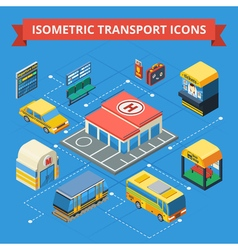 Passenger Transportation Isometric Flowchart vector