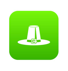 Pilgrim hat icon digital green vector