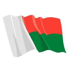 Political waving flag of madagascar vector