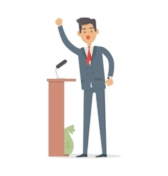 Politician speaks to audience from tribune vector