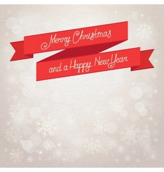 Postcard merry christmas beige background vector