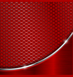 red metal perforated background with wave steel vector image