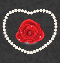 Red rose with heart made in pearl vector
