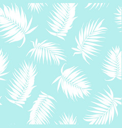 Royal palm tree leaves seamless pattern white blue vector