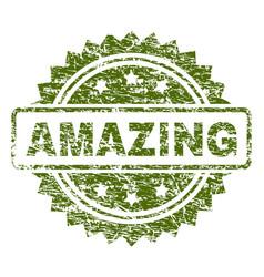 Scratched textured amazing stamp seal vector