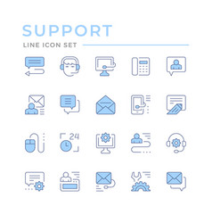 set color line icons support vector image