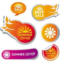 Set hot summer sale stickers vector