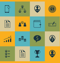 set of 16 human resources icons includes employee vector image