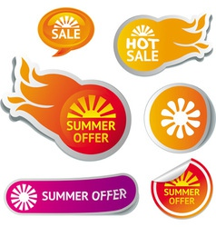 Set of hot summer sale stickers vector