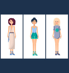 set of women in modern summer mode fashionable vector image