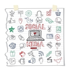 Social Media Word and IconDoodle sketchy vector
