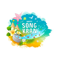 songkran festival travel thailand colorful water vector image